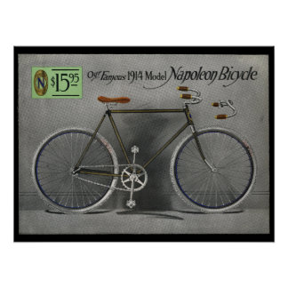1914 Vintage Sears Napoleon Bicycle Ad Art Poster