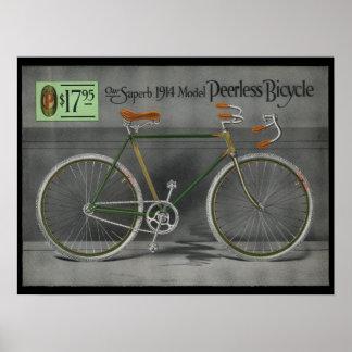 1914 Vintage Sears Peerless Bicycle Ad Art Poster