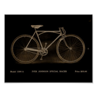 1915 Vintage Iver Johnson Bicycle Ad Art Poster