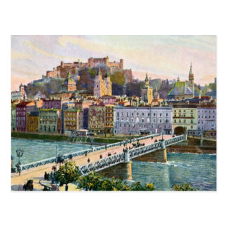 1916 Aquarelle Salzburg State Bridge Postcard