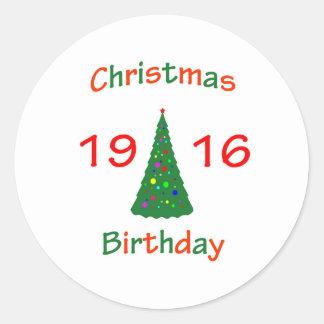 1916 Christmas Birthday Round Stickers