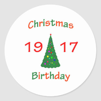 1917 Christmas Birthday Classic Round Sticker