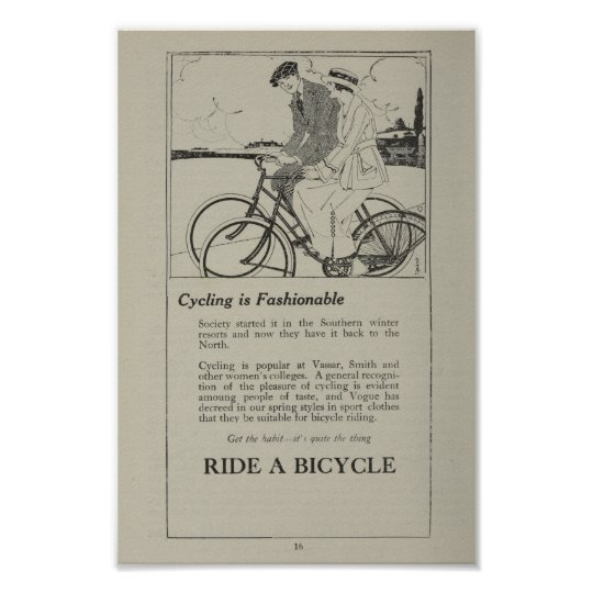 1917 Vintage Bicycle Marketing Ad Art Poster