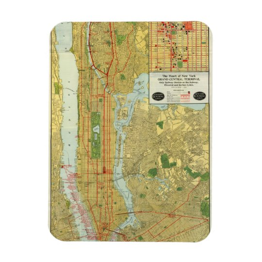 1918 New York Central Railroad Map Rectangular Photo Magnet