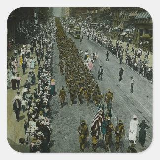 1918 WWI Parade New York City Magic Lantern Slide Square Stickers