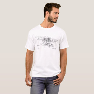 1919 Biplane Airplane Patent Art Drawing T-Shirt
