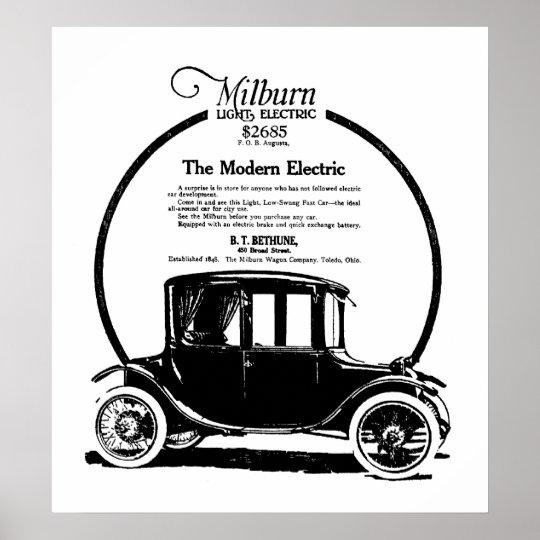 1919 Milburn Electric Car vintage ad Print