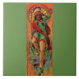 1919 Native American Indian illustration Large Square Tile