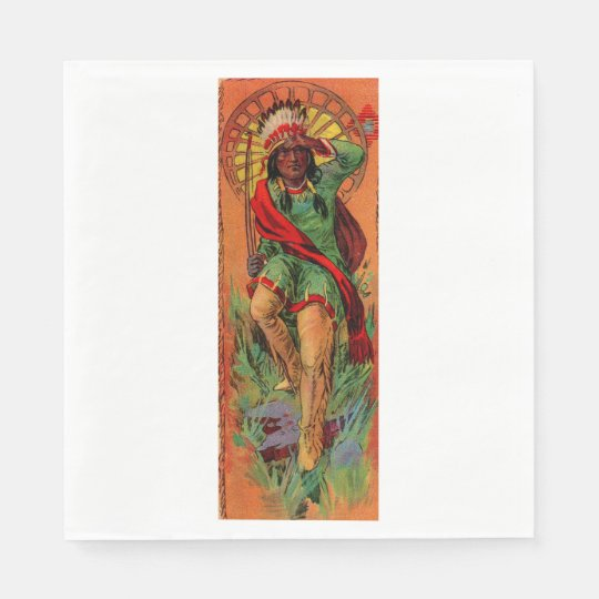 1919 Native American Indian illustration Paper Napkin