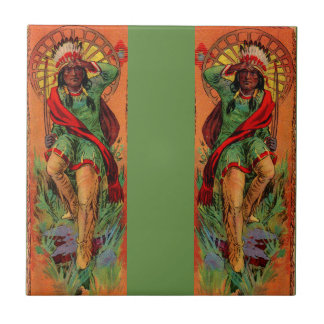 1919 Native American Indian illustration Small Square Tile