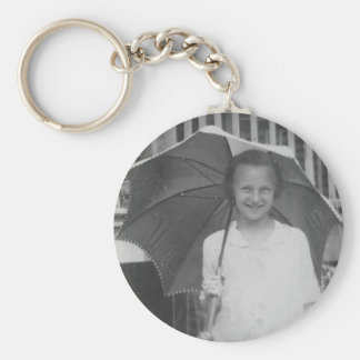 1920-1930's Girl with Umbrella Basic Round Button Key Ring