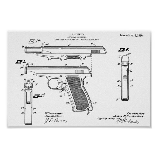 1920 Automatic Gun Patent Art Drawing Print