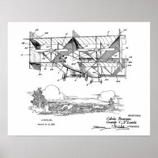 1920 Biplane Airplane Patent Art Drawing Print