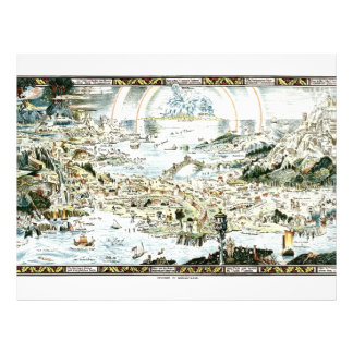 1920 Classic Fairyland Imaginary Map 21.5 Cm X 28 Cm Flyer
