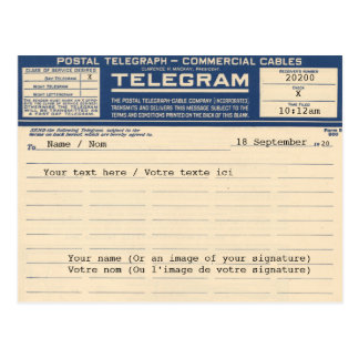 1920 Postal Telegram (Postcard)