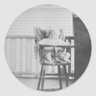 1920 s Baby in Highchair Round Sticker