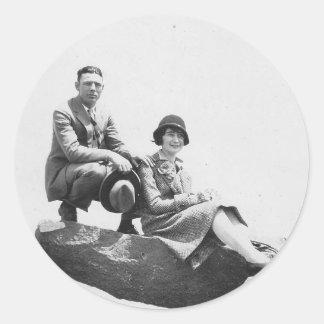 1920 s Couple on Vacation Round Sticker