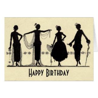 1920 s Flapper Fashion Silhouette Birthday Card