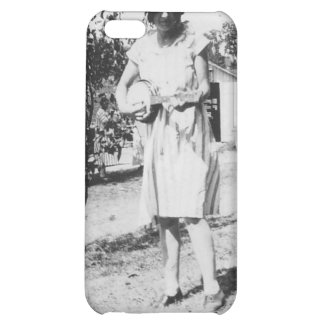 1920 s Lady in dress with hat playing banjo iPhone 5C Case