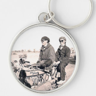 1920 s Men Riding Motorcycle Keychain