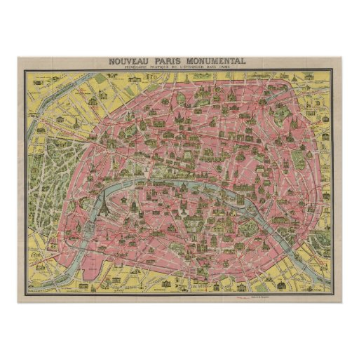 1920 Scenic Sights Travel Map of Paris, France Print