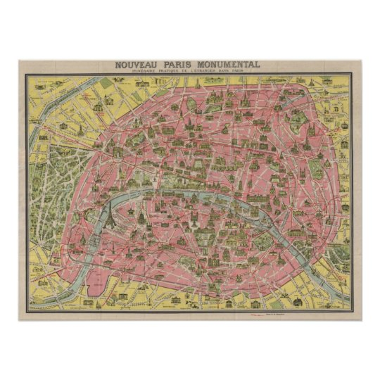 1920 Scenic Sights Travel Map of Paris, France
