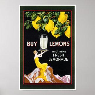 1920 Vintage Grocery Lemonade Poster Restored