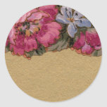 1920 Wallpaper Floral Border Card (9) Round Stickers