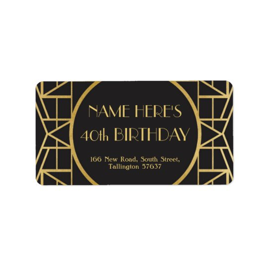 1920's Art Deco Birthday Gatsby Address Labels 20s