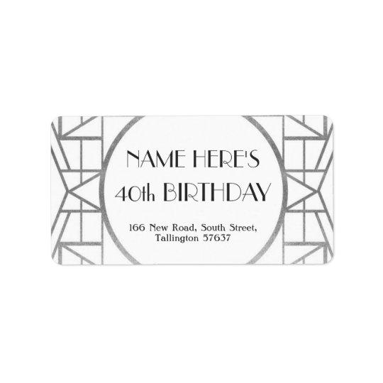 1920's Art Deco Birthday Gatsby Address Silver 20s Label