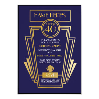 1920's Art Deco Birthday Invite Gatsby Party Navy