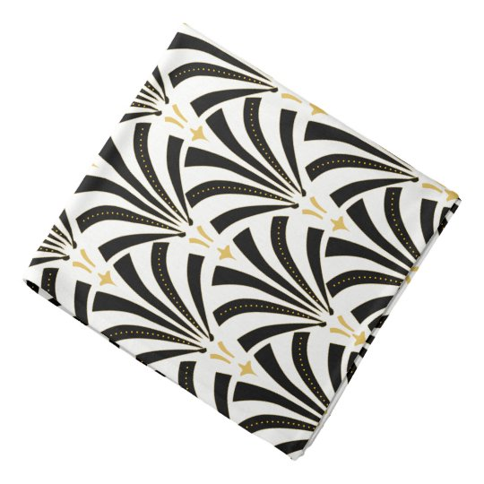 1920s Art Deco Black & White Palmettos Bandana