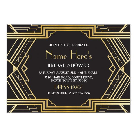 1920's Art Deco Bridal Shower Party Gatsby Gold