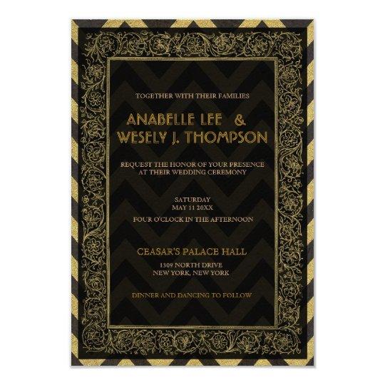 1920s Art Deco Chevron Wedding Invtitation Card