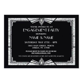 1920's Art Deco Engagement Party Invitation Gatsby