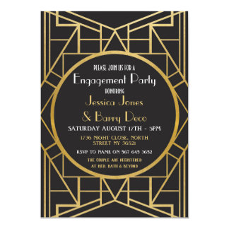 1920's Art Deco Gatsby Great 20s Engagement Invite