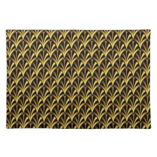 1920's Art Deco Style Fan Pattern in Black & Gold Placemat