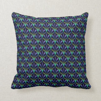 1920s Art Deco Style Fan Pattern in Peacock Colors Cushion
