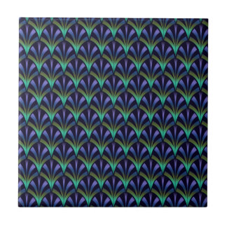 1920s Art Deco Style Fan Pattern in Peacock Colors Tile