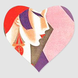 1920s Art Deco Woman Heart Sticker