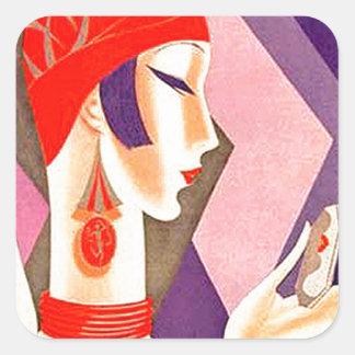 1920s Art Deco Woman Square Sticker