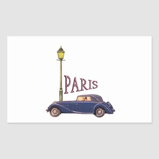 1920's Automobile - Paris Rectangular Sticker