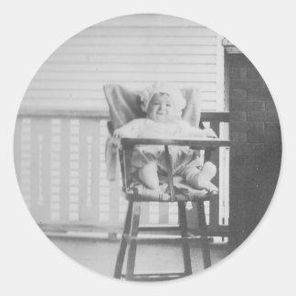 1920's Baby in Highchair Round Sticker