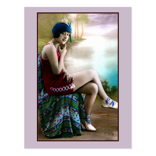 1920s Bathing beauty, flapper girl Postcard