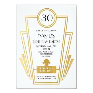1920's Birthday Art Deco Invite Gatsby Party Gold