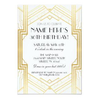 1920's Birthday Gold Art Deco Invite Gatsby Party