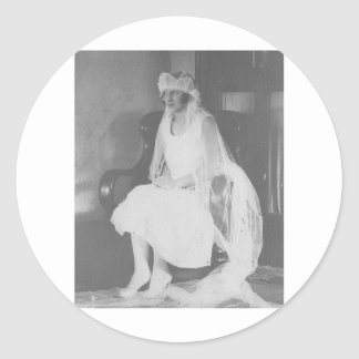 1920's Bride waiting sitting in chair Round Stickers