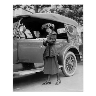 1920s Car and Fashion Poster