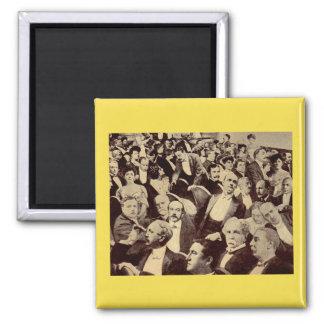 1920s crowd scene square magnet