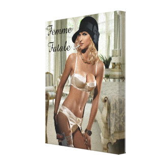 1920's Femme Fatale Diva - Smoking and Guns Canvas Prints